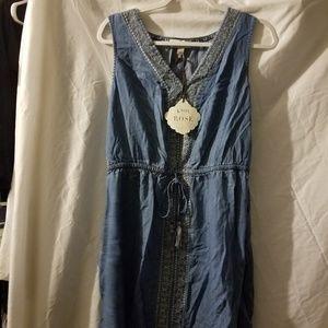 Knox Rose Chambray V-Neck Sleeveless Dress L NWT